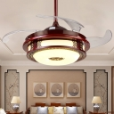 Red Brown Round Ceiling Fan Lamp Traditional Metal LED Study Room Semi Flush Light, Wall/Remote Control/Frequency Conversion
