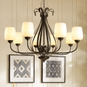 Black 3/6/8 Heads Chandelier Light Traditionalism White Glass Bowl Suspended Lighting Fixture for Living Room