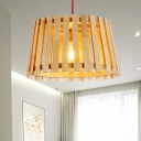 1 Head Bedroom Pendant Light Asia Beige Ceiling Suspension Lamp with Cone Wood Shade