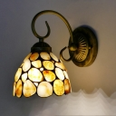 Beige 1 Light Wall Mount Light Fixture Tiffany Style Stone Bell Shaped Sconce for Kitchen