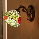 Armed Stained Glass Sconce Light Mediterranean 1 Light Blue/Yellow/Green Wall Mounted Lighting for Bedroom