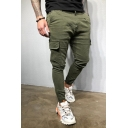 Solid Color Flap Pocket Side Zipper Decoration Slim Fit Street Style Woven Pants for Men