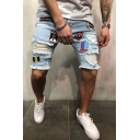 Hip Hop Light Blue Embroidered Letter Applique Ripped Shredded Wash Jeans Shorts