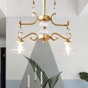Clear Glass Gold Pendant Chandelier Flared 2 Lights Traditionalism Ceiling Hang Fixture with Dangling Crystal Accent