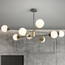Grey Globe Chandelier Light Modernism Opal Glass 8 Heads Suspended Lighting Fixture