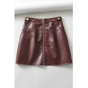 Street Girls' High Waist O-Ring Zipper Front Plain Leather Mini A-Line Skirt