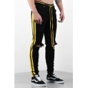 Men's Simple Yellow Stripe Side Knee Cut Ripped Black Jeans with Drawstring