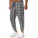 Classic Plaid Printed Tape Insert Drawstring Waist Loose Fit Black and White Casual Pants