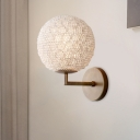 1 Light Globe Shaped Wall Mount Lamp Traditional Style Gold/Silver Crystal Sconce for Bedroom