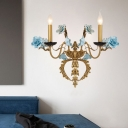 Metal Curved Arm Sconce Light Fixture Countryside 2 Lights Living Room Wall Mount Lamp in Blue with/without Shade