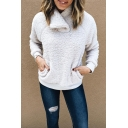 Casual Fashion Women's Long Sleeve Stand Collar Zipper Pockets Side Sherpa Fleece Relaxed Pullover Sweatshirt in White