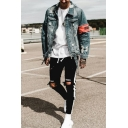 Mens Casual Embroidered Letter Side Stripe Knee Cut Skinny Fit Shredded Jeans