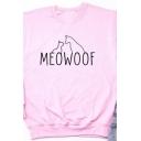 Popular Letter MEOWOOF Printed Long Sleeve Round Neck Casual Loose Sweatshirt