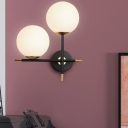 Contemporary Round Wall Lamp Opal Frosted Glass 2 Heads Sconce Light Fixture in Black