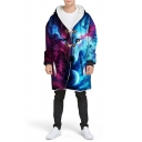 Cool Wolf 3D Printed Long Sleeve  Sherpa Lined Baggy Longline Hooded Toggle Coat