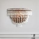Basket Clear Crystal Sconce Light Modernism 1 Bulb LED Wall Lighting Fixture for Living Room