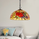 2 Lights Flower/Bird Chandelier Light Fixture Tiffany-Style Red/Pink Stained Art Glass Pendant Lamp for Kitchen
