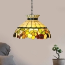 Yellow Stained Glass Pendant Chandelier Domed Shade 3 Lights Mediterranean Hanging Ceiling Light for Kitchen