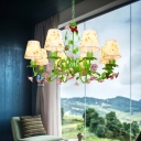 Countryside Barrel Chandelier Lighting Fixture 8 Heads Fabric Pendant Ceiling Light in Green for Living Room