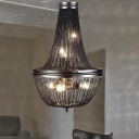 6 Lights Chandelier Light Minimalism Chain Metal Pendant Lighting Fixture in Black for Living Room