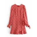 Pretty Women's Red Bow Tie Sleeve Crew Neck All Over Floral Print Zipper Back Ruffle Trim Short Wrap A-Line Dress