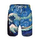 Mens Casual Cartoon Sea Wave Starry Sky Vortex Pattern Drawstring Waist Beach Shorts