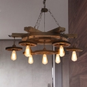 3/7 Lights Exposed Bulb Suspension Chandelier Pendant Light Rust Metal Ceiling Lamp for Kitchen with Gear Deco