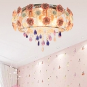 Drum Crystal Ceiling Mounted Fixture Traditional 6/8 Bulbs Living Room Flush Mount Lamp in Pink