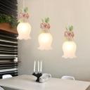 White Glass Rose Multi Light Pendant Pastoral 3 Bulbs Dining Room Suspension Lighting Fixture