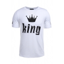 Cool Casual Short Sleeve Crew Neck Letter KING Crown Print Fitted T-Shirt for Girls