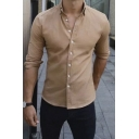 Casual Fashion Solid Color Long Sleeve Button Down Slim Fit Simple Shirt for Men