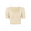 Elegant Ladies' Plain Short Sleeve V-Neck Ruched Knit Fitted Crop T-Shirt