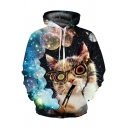 Funny Glasses Cat Galaxy Smoke 3D Pattern Long Sleeves Pullover Hoodie