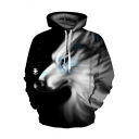 Unisex Stylish White Snowflake Wolf 3D Printed Long Sleeves Black Loose Drawstring Hoodie