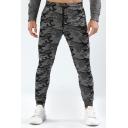 Men's Leisure Camo Printed Drawstring Waist Quick-Dry Slim Fit Sports Pants
