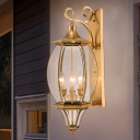 Traditional Elliptical Sconce Light Fixture 3-Bulb Metal Wall Lamp in Gold for Foyer