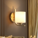 Milk Glass Drum Wall Lighting Fixture Modernism Style 1 Light Bedside Wall Sconce Lamp in Brass