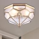 Bowl Bedroom Flush Mount Vintage Curved Frosted Glass 3/4/6 Lights Gold Ceiling Lighting