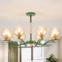 Gray/Green Finish Global Chandelier Lighting Nordic Stylish 8 Lights Amber Glass Pendant Lighting Fixture