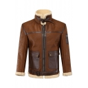 Mens Classic Sherpa Lined Lapel Collar Zip Up Long Sleeves Flap Pocket Brown PU Jacket
