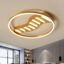 Linear Acrylic Ceiling Lamp Simple Style Gold 19.5
