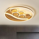 Gold Ring Ceiling Light Modernism Acrylic LED Flush Mount Lighting in Remote Control Stepless Dimming/Warm/White Light