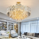 Tiered Pendant Chandelier Contemporary Crystal 12/16 Bulbs Gold Ceiling Suspension Lamp, 23.5