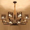 Triangle Ceiling Chandelier Modern Crystal 6/8 Heads 28