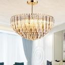 Tiered Pendant Chandelier Modernist Beveled Crystal 10 Heads Gold Hanging Ceiling Light