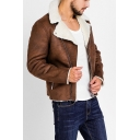 Mens Warm Sherpa Lined Notched Collar Long Sleeve Side Zip Up Brown PU Short Jacket