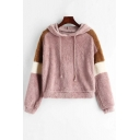 Womens Leisure Color Block Striped Long Sleeve Pink Fluffy Plush Drawstring Hoodie