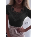 Womens Sexy Lace Patch V-Neck Short Sleeve Slim Fit Whole Colored Summer T-Shirt