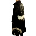 Mens Fancy Pattern Long Sleeve Colorblock Faux Fur Coat Longline Trench Coat