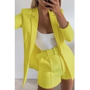 Womens Elegant Solid Color Notched Collar Long Sleeve Blazer Coat with Loose Belted Shorts